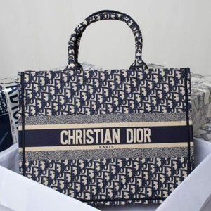 Dior Book Tote Navy Bagwallet Cloth Tote 9898